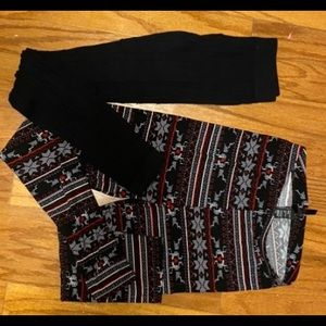 A set of black and red, white, black leggings.
